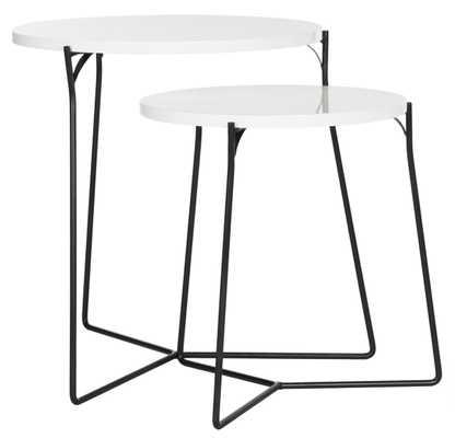 Ryne Retro Mid Century Lacquer Stacking End Table - White/Black - Arlo Home - Arlo Home