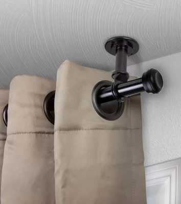 Stapleford Single Curtain Rod - Hardware Set Ceiling Mount Black - Wayfair