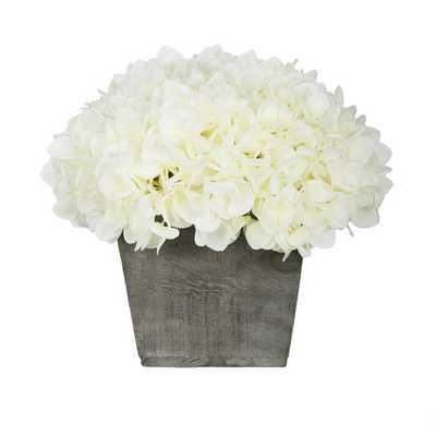Artificial Hydrangea Floral Arrangement in Planter - Wayfair