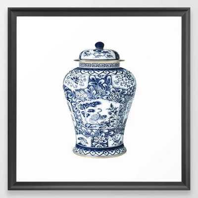 Blue & White Chinoiserie Cranes Porcelain Ginger Jar Framed Art Print - Scoop Black 22x22 - Society6