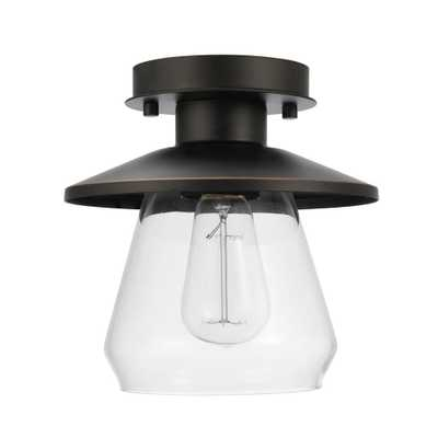1-Light Oil Rubbed Bronze and Glass Vintage Semi-Flush Mount - Home Depot