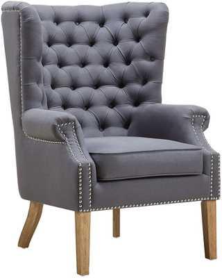 Kaitlyn Morgan Linen Wing Chair - Maren Home