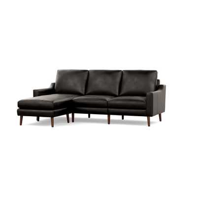 The Slope Nomad Leather Sectional Sofa in Slate, Walnut Legs - Burrow