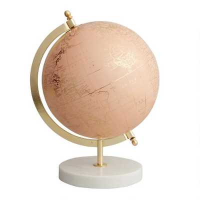 Blush Globe On Marble Stand - World Market/Cost Plus