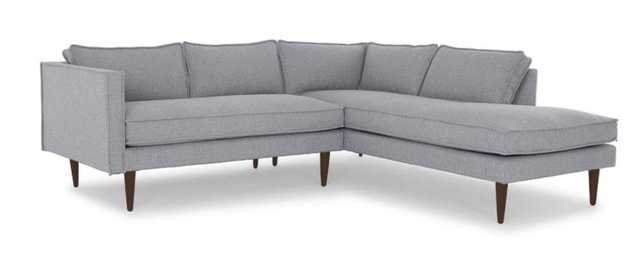 Gray Serena Mid Century Modern Sectional with Bumper - Essence Ash - Coffee Bean - Left - Joybird