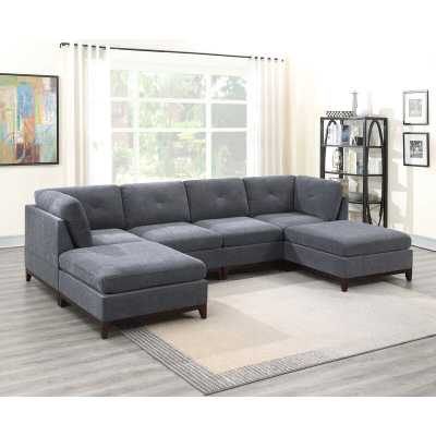 """Deiontay 134"""" Wide Chenille Reversible Modular Corner Sectional with Ottoman - Wayfair"""