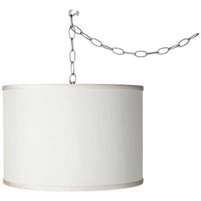 """Giclee Glow Brushed Silver 13 1/2"""" Wide Plug-In Swag Pendant - Style # 54G66 - Lamps Plus"""