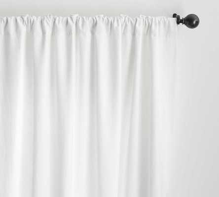 "Classic Belgian Flax Linen Drape, Cotton Lining, 50 x 108"", White - Pottery Barn"