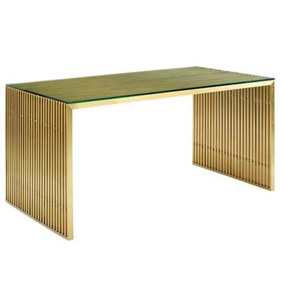 GRIDIRON STAINLESS STEEL DINING TABLE IN GOLD - Modway Furniture