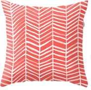 Coral Herringbone Throw Pillow - Society6
