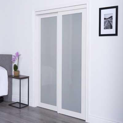 Baldarassario Glass Sliding Closet Door with Installation Hardware Kit - Wayfair