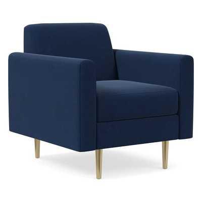 Olive Standard Back Mailbox Arm Chair, Poly, Performance Velvet, Ink Blue, Antique Brass - West Elm