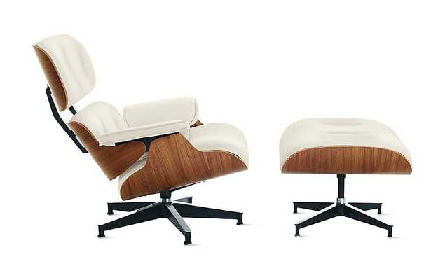 Eames® Lounge Chair and Ottoman - Walnut - MCL Pearl leather- tall - Design Within Reach