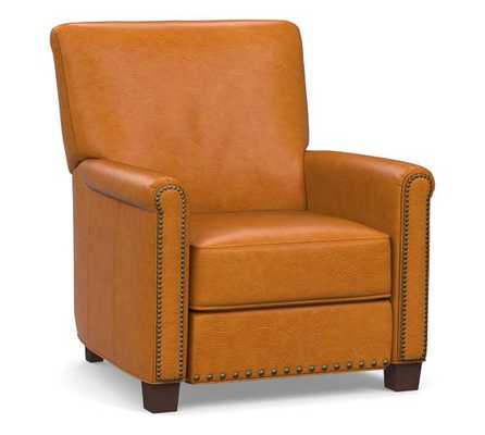 Irving Leather Recliner, Bronze Nailheads, Polyester Wrapped Cushions, Stetson Chestnut - Pottery Barn