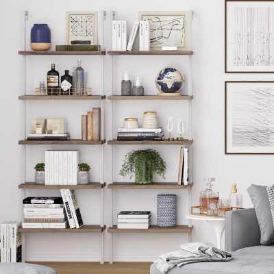 Moskowitz Ladder Bookcase, Natural light brown wood, white frame - AllModern