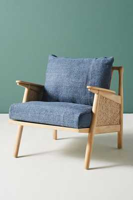 Linen Cane Chair, navy - Anthropologie