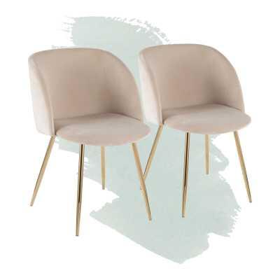 Corinne Upholstered Dining Chair (set of 2), Cream - Wayfair