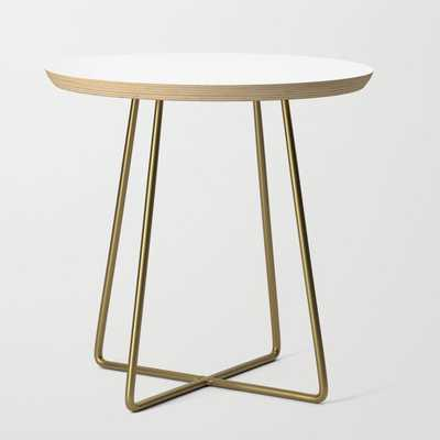 Side Table - Basics - Round White / Brass Legs - Society6