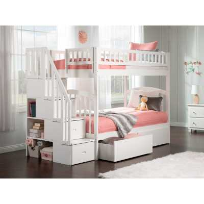 Staircase Twin Over Twin Bunk Bed with Drawers - Wayfair