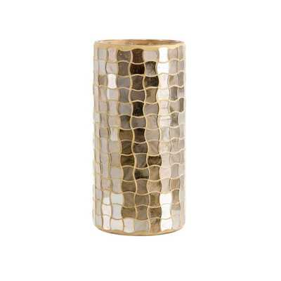 Christmas Gold Small Glass Mosaic Hurricane - Mercer Collection