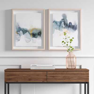 "(Set of 2) 16"" x 20"" Blue and Gold Watercolor Framed print - Project 62™ - Target"