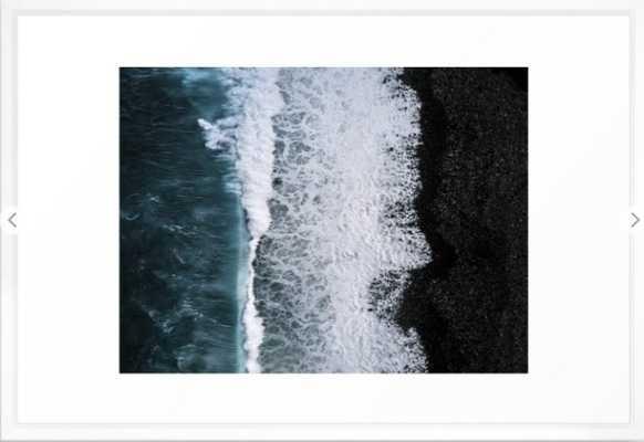 Aerial of a Black Sand Beach with Waves - Oceanscape Framed Art Print - Society6