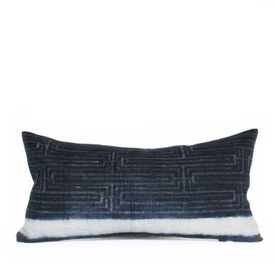 HEMP INDIGO STRIPE LUMBAR PILLOW - PillowPia