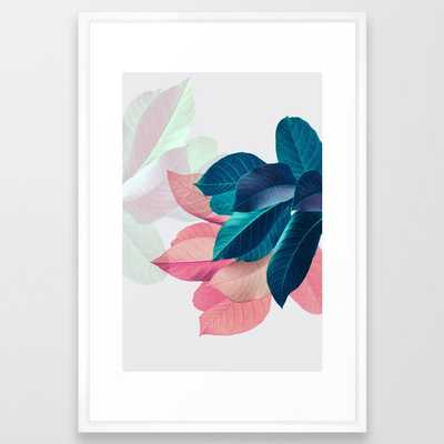 Pink and Blue Leaf Framed Art Print - Society6