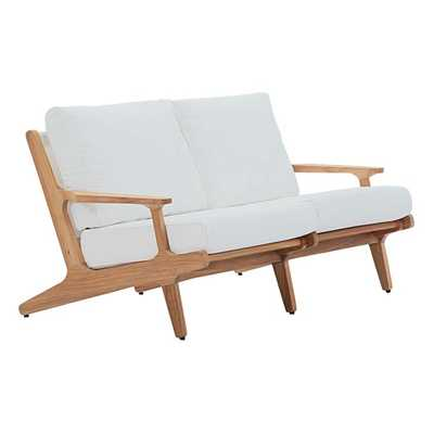 SARATOGA OUTDOOR PATIO TEAK LOVESEAT IN NATURAL WHITE - Modway Furniture
