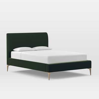 Andes Deco Upholstered Bed, King, Astor Velvet, Evergreen, Light Bronze - West Elm
