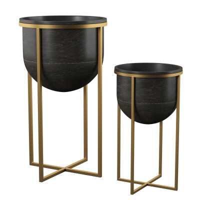 Manhart 2-Piece Iron Pot Planter Set - AllModern