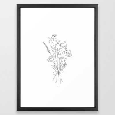 Small Wildflowers Minimalist Line Art - Vector Black - Society6