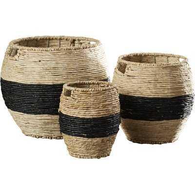3 Piece Woven Basket Set - Wayfair