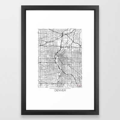 Denver Map White Framed Art Print Vector Black - 26 x 38 - Society6
