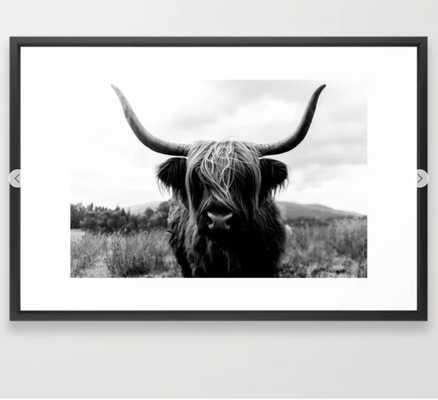 Scottish Highland Cattle Black and White Animal Framed Art Print - Society6