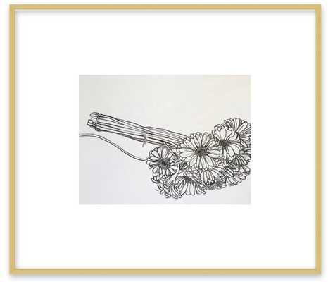 Bouquet of Gerber Daisies Frosted Gold Metal, frame - Artfully Walls