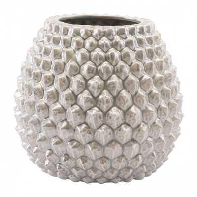 Pinecone Short Vase Antique Silver - Zuri Studios