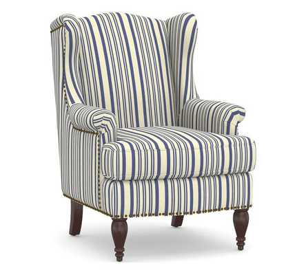 SoMa Delancey Upholstered Wingback Armchair, Polyester Wrapped Cushions, Antique Stripe Blue - Pottery Barn