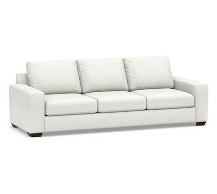 "Big Sur Square Arm Upholstered Grand Sofa 105"", Down Blend Wrapped Cushions, Basketweave Slub Ivory - Pottery Barn"