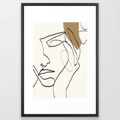 Abstract Face Framed Art Print- Vector Black- 15x21 - Society6