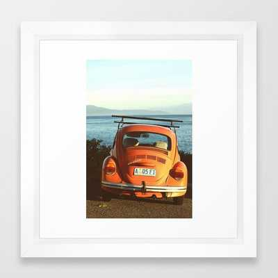 Combi van surf Framed Art Print, 12x12, Vector White - Society6