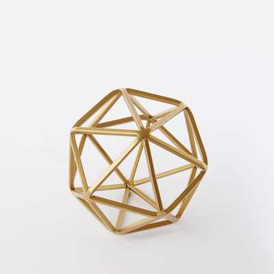 Symmetry Object, Small Octahedron, Gold - West Elm
