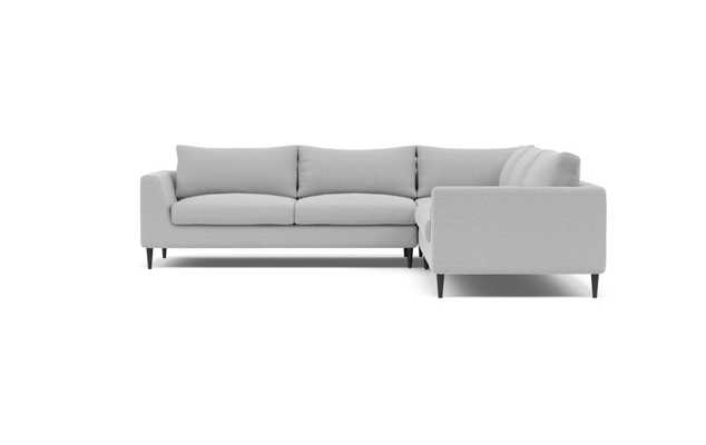 Asher Corner Sectional Sofa-Ecru Monochromatic Plush-Painted Black Tapered Round Wood Leg - Interior Define