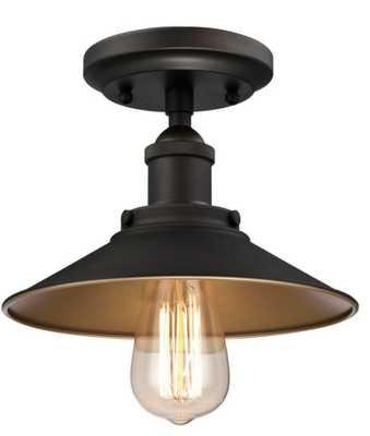 Louis 1-Light Oil Rubbed Bronze Semi-Flush Mount - Home Depot