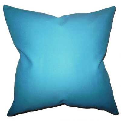 """Kalindi Solid Pillow Aqua Blue- 20""""x 20""""- high-fiber polyester pillow insert. - Linen & Seam"""