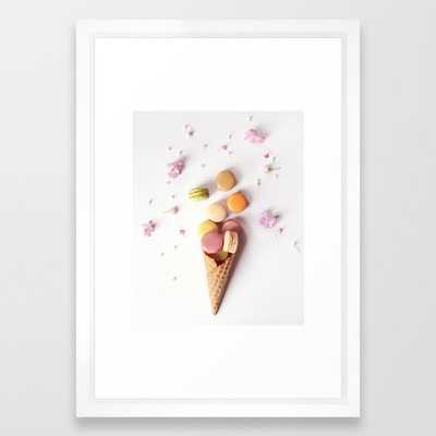 Macaron Cone Framed Art Print, 15 x 21 Vector White - Society6
