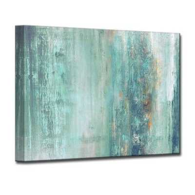 'Abstract Spa' Framed Graphic Art Print on Canvas Blue - Wayfair