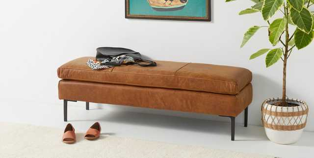 Edlyn Leather Bench - Anthropologie