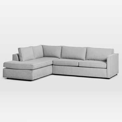 "Harris Sectional Set 11: Right Arm 75"" Sofa, Left Arm Terminal Chaise, Poly, Chenille Tweed, Irongate, - West Elm"