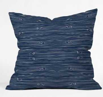 "Navy woodgrain pillow/ 18"" x 18"" / Poly Fill - Wander Print Co."